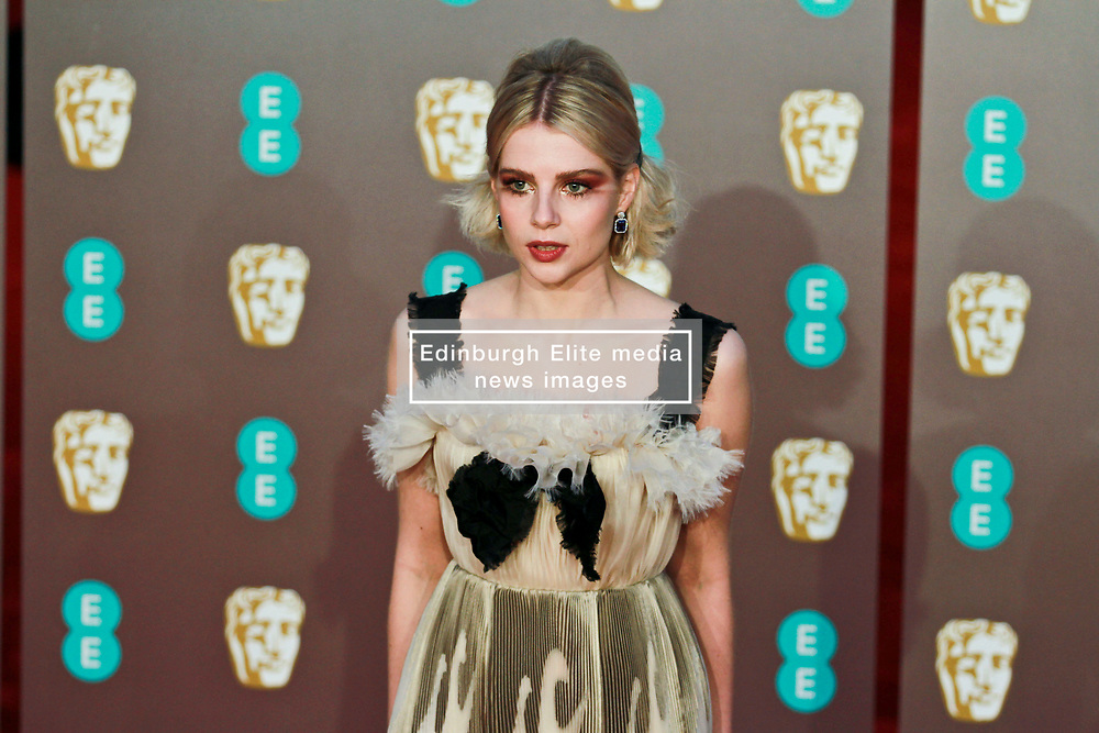 Lucy Boynton on the red carpet ahead of the 2019 British Academy Film Awards at the Royal Albert Hall in London, England on 10th Feburary 2019. ©Ben Booth/Edinburgh Elite media