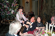 JACQUELINE DE RIBES; VALENTINO; SUSY MENKES, Dinner for Jacqueline de Ribes after Legion d'honneur award. 50 Rue de la Bienfaisance. Paris.