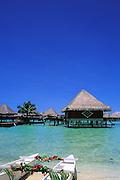Image of the beach and overwater bungalows on Bora Bora, Tahiti, French Polynesia