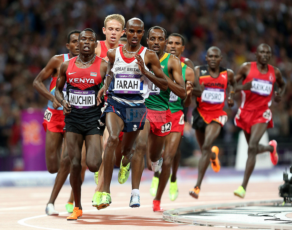Mohamed Farah of Great Britain runs in the 10000m final during track and field at the Olympic Stadium during day 8 of the London Olympic Games in London, England, United Kingdom on August 3, 2012..(Jed Jacobsohn/for The New York Times)..