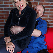 NLD/Amsterdam/20131104 - Lunch genomineerde Musical Awards Gala 2013, Arjan Ederveen grijpt Jenny Arean
