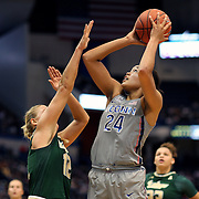 HARTFORD, CONNECTICUT- JANUARY 10: Napheesa Collier #24 of the Connecticut Huskies shoots for two while defended by Maria Jespersen #12 of the South Florida Bulls during the the UConn Huskies Vs USF Bulls, NCAA Women's Basketball game on January 10th, 2017 at the XL Center, Hartford, Connecticut. (Photo by Tim Clayton/Corbis via Getty Images)