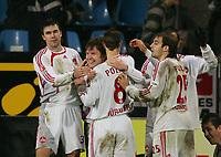 Fotball<br /> Bundesliga<br /> 11.02.2007<br /> Foto: Witters/Digitalsport<br /> NORWAY ONLY<br /> <br /> Jubel 0:2 v.l. Michael Beauchamp, Iwan Saenko, Jan Polak, Javier Horacio Pinola Nuernberg<br /> Bundesliga VfL Bochum - 1.FC Nürnberg 0:2