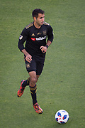 Los Angeles FC defender Steven Beitashour (3) moves the ball during a MLS soccer match in the inaugural game at Banc of California Stadium in Los Angeles, Sunday, April 29, 2018. LAFC defeated the Sounders 1-0. (Eddie Ruvalcaba/mage of Sport)