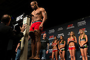 "Daniel ""DC"" Cormier weighs in during the official UFC 187 weigh-in event at the MGM Grand in Las Vegas, Nevada on May 22, 2015. (Cooper Neill)"