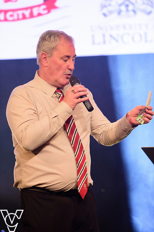 Alan Long compeering the evening<br /> <br /> Lincoln City Football Club's 2016/17 End of Season Awards night - Champions Seasons Awards Dinner - held at the Lincolnshire Showground.<br /> <br /> Picture: Andrew Vaughan for Lincoln City Football Club<br /> Date: May 20, 2017 Champions Seasons Awards Dinner: