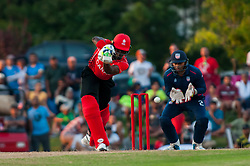 September 22, 2018 - Morrisville, North Carolina, US - Sept. 22, 2018 - Morrisville N.C., USA - Team Canada ROGRIGO AUSTINE THOMAS (46) in bat with Team USA MOHAMMED KHALEEL (2) as the wicketkeeper during the ICC World T20 America's ''A'' Qualifier cricket match between USA and Canada. Both teams played to a 140/8 tie with Canada winning the Super Over for the overall win. In addition to USA and Canada, the ICC World T20 America's ''A'' Qualifier also features Belize and Panama in the six-day tournament that ends Sept. 26. (Credit Image: © Timothy L. Hale/ZUMA Wire)