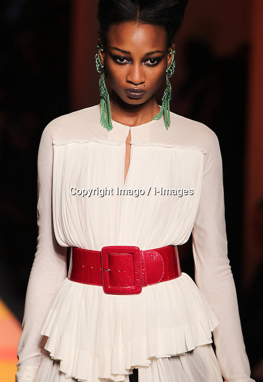 A model displays a creation by French designer Jean Paul Gaultier during the Haute Couture Spring-Summer 2013 collection shows in Paris, France, January 23, 2013. Photo by Imago / i-Images...UK ONLY