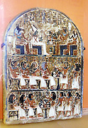 Stele Irynefer: Top level:The gods Anubis and Osiris enthroned facing Ahmose Nefertari and Amenhotep first deified; 2nd Level:  his wife and their daughter Hathor Mehytkhaty make funerary offerings. Third Level: Hathor is offering with her brothers to her parents.  Reign of  Seti I and Ramses II to 1290-1220 BC