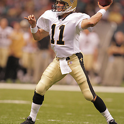2008 August 28: Quarterback, Mark Brunell (11) of the New Orleans Saints passes against the Miami Dolphins at the Louisiana Superdome in New Orleans, LA.