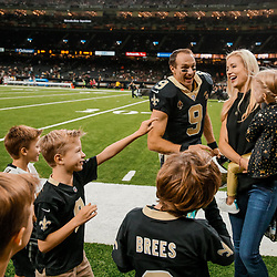 Aug 17, 2018; New Orleans, LA, USA; New Orleans Saints quarterback Drew Brees (9) with his wife Brittany Brees and kids before a preseason game against the Arizona Cardinals at the Mercedes-Benz Superdome. Mandatory Credit: Derick E. Hingle-USA TODAY Sports