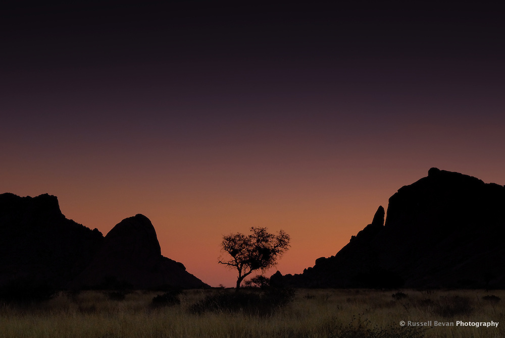 Silhouette of Spitzkoppe at Sunset, Namibia