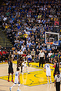Houston Rockets forward Trevor Ariza (1) shoots a free throw against the Golden State Warriors at Oracle Arena in Oakland, Calif., on March 31, 2017. (Stan Olszewski/Special to S.F. Examiner)