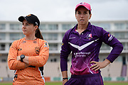 Captains Tammy Beaumont of Southern Vipers and Georgia Elwiss of Loughborough Lightning ahead of  the Women's Cricket Super League match between Southern Vipers and Loughborough Lightning at the Ageas Bowl, Southampton, United Kingdom on 28 August 2019.