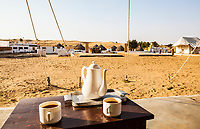 Tea time... which is pretty much all the time in India. Resort Rawla, near Jaisalmer, Rajasthan, India. Thar Desert.