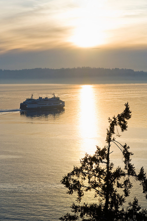 A Washington State Ferry running on the Puget Sound between Seattle and Vashon Island, Washington State, USA.