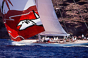 Gaia sailing in the Cannon Race at the 2011 Antigua Classic Yacht Regatta.
