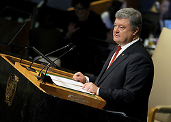 Ukrainian president Petro Poroshenko addresses the 72nd session of the General Assembly at the United Nations in New York City, NY, USA, on September 20, 2017. Photo by Dennis Van Tine/ABACAPRESS.COM