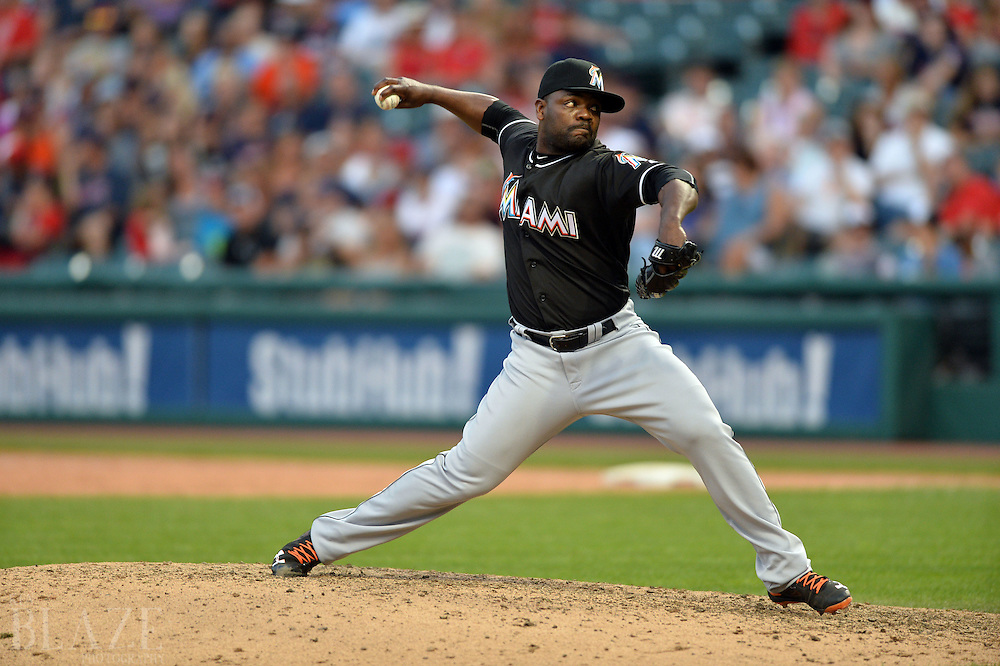 Sep 4, 2016; Cleveland, OH, USA; Miami Marlins relief pitcher Fernando Rodney (56) throws a pitch during the ninth inning against the Cleveland Indians at Progressive Field. The Indians won 6-5. Mandatory Credit: Ken Blaze-USA TODAY Sports