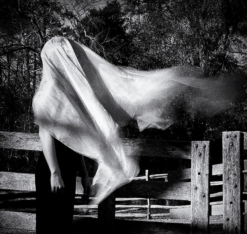 Black and white image of a woman outdoors with fabric over her head and blowing in the wind.