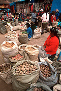PERU, HIGHLANDS, MARKETS Pisac; famous rural market; potatoes