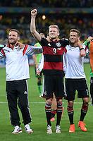 FUSSBALL WM 2014                HALBFINALE Brasilien 1-7 Deutschland          08.07.2014 Jubel der deutschen Mannschaft nach dem Abpfiff:  Shkodran Mustafi, Andre Schuerrle und Erik Durm (v.l.)