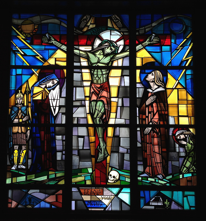 """Stained glass depicting Jesus on the cross with his mother and the apostle John. """"Behold Your Mother."""" Taken with iPhone5 at Holy Rosary Church in Kewaunee. (Sam Lucero photo)"""