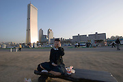 Yeouido Island. At the banks of Han River. 63 Building.