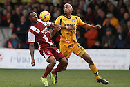 Craig Braham-Barrett of Cheltenham Town and Chris Zebroski of Newport County (r). Skybet football league 2 match, Newport county v Cheltenham Town at Rodney Parade in Newport, South Wales on Saturday 22nd Feb 2014.<br /> pic by Mark Hawkins, Andrew Orchard sports photography.