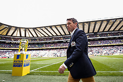 Bath Head Coach Mike Ford walks past the Aviva Premiership trophy - Photo mandatory by-line: Rogan Thomson/JMP - 07966 386802 - 30/05/2015 - SPORT - RUGBY UNION - London, England - Twickenham Stadium - Bath Rugby v Saracens - 2015 Aviva Premiership Final.