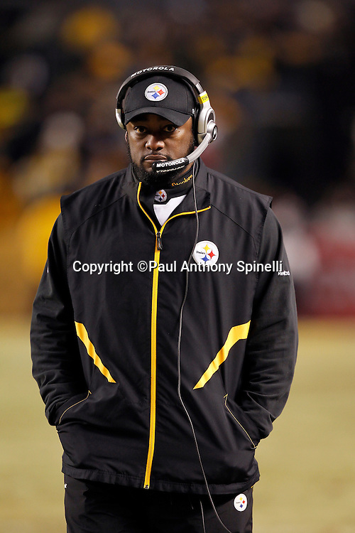 Pittsburgh Steelers head coach Mike Tomlin looks on during the NFL 2011 AFC Championship playoff football game against the New York Jets on Sunday, January 23, 2011 in Pittsburgh, Pennsylvania. The Steelers won the game 24-19. (©Paul Anthony Spinelli)