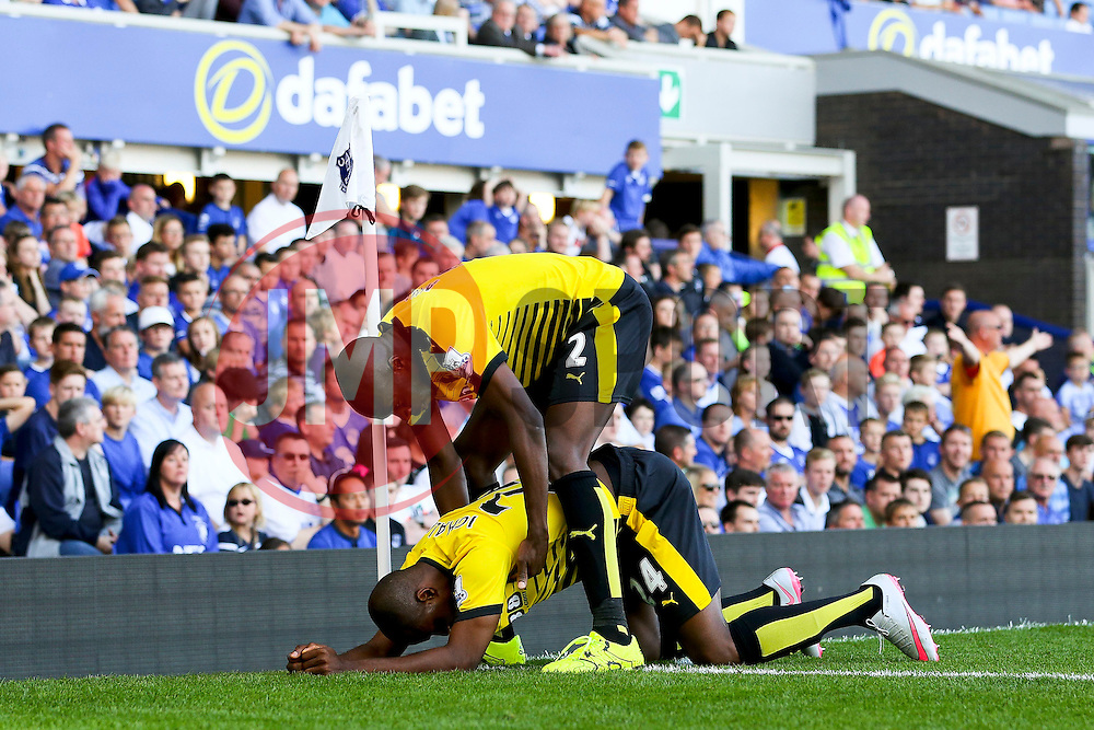 Watford's Odion Ighalo celebrates with his team mates after scoring his sides second goal for 1-2 - Mandatory byline: Matt McNulty/JMP - 07966386802 - 08/08/2015 - FOOTBALL - Goodison Park -Liverpool,England - Everton v Watford - Barclays Premier League