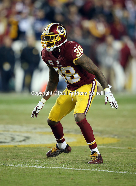 Washington Redskins free safety Dashon Goldson (38) makes a move during the 2015 week 13 regular season NFL football game against the Dallas Cowboys on Monday, Dec. 7, 2015 in Landover, Md. The Cowboys won the game 19-16. (©Paul Anthony Spinelli)