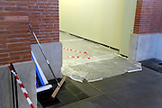 block of space with red and white plastic warning tape in art space Toulouse