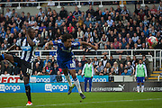 Chelsea FC Loic Remy heading a shot on target during the Barclays Premier League match between Newcastle United and Chelsea at St. James's Park, Newcastle, England on 26 September 2015. Photo by Craig McAllister.