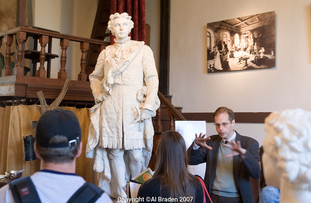 Professor Louis Waldman of University of Texas discusses King Ludwig II of Barvaria Sculpture at Elizabet Ney Museum, Austin, Texas.