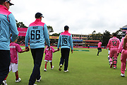 Eoin Morgan (Capt) leads the team out  during the One Day International match between South Africa and England at Bidvest Wanderers Stadium, Johannesburg, South Africa on 9 February 2020.