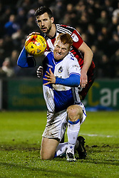 Rory Gaffney of Bristol Rovers shows his frustration after his headed goal is ruled offside - Rogan Thomson/JMP - 14/02/2017 - FOOTBALL - Memorial Stadium - Bristol, England - Bristol Rovers v Sheffield United - Sky Bet League One.