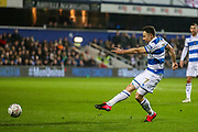 Queens Park Rangers midfielder Marc Pugh (7) shoots towards the goal during the The FA Cup match between Queens Park Rangers and Sheffield Wednesday at the Kiyan Prince Foundation Stadium, London, England on 24 January 2020.