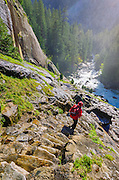 Hiker on the Mist Trail, Yosemite National Park, California USA