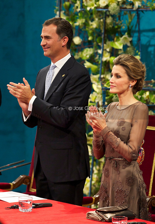 Prince Felipe and Princess Letizia of Spain attend the 'Prince of Asturias Awards 2010' ceremony at the Campoamor Theater on October 21, 2011 in Oviedo, Spain.