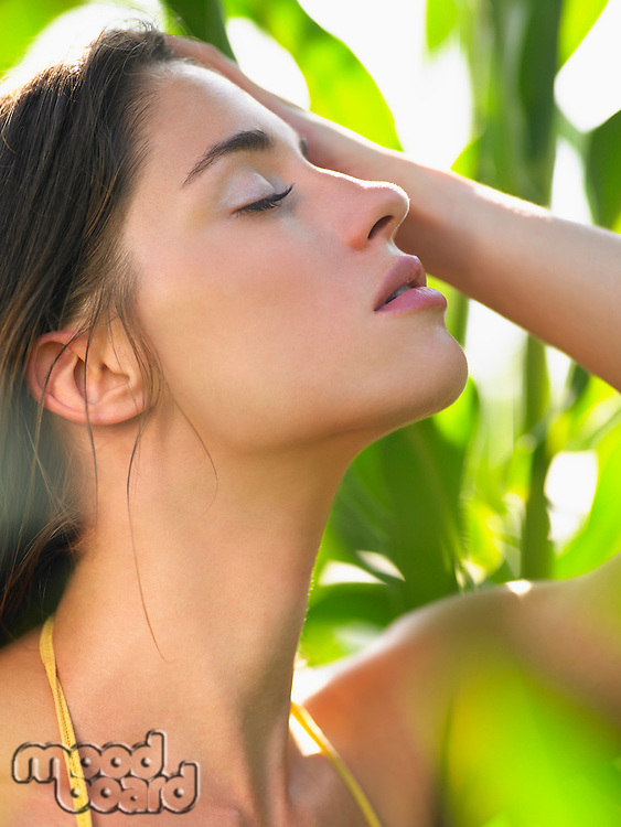 Profile of young woman in corn field closed eyes