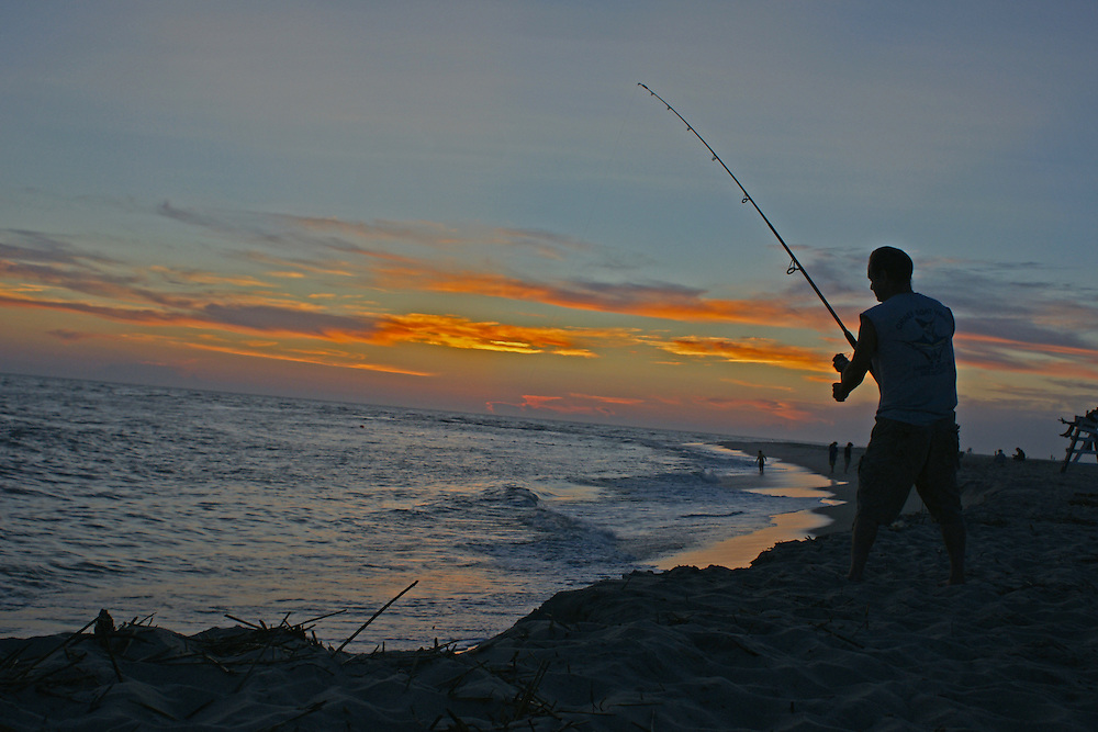 Shore fishing, Cape May Point, New Jersey, Sunset