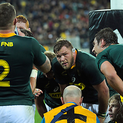 The Springboks regroup after Jack Goodhue's try during the Rugby Championship rugby union match between the New Zealand All Blacks and South Africa Springboks at Westpac Stadium in Wellington, New Zealand on Saturday, 27 July 2019. Photo: Dave Lintott / lintottphoto.co.nz