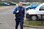 AFC Wimbledon attacker Tommy Wood (22) arriving for the game and giving a thumbs up during the EFL Sky Bet League 1 match between AFC Wimbledon and Southend United at the Cherry Red Records Stadium, Kingston, England on 1 January 2020.