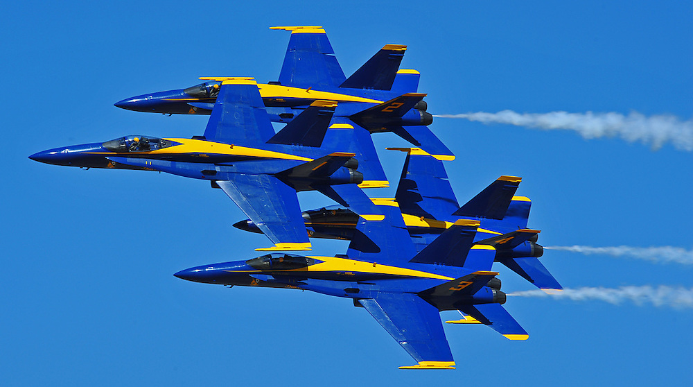 The Blue Angels fly in tight formation