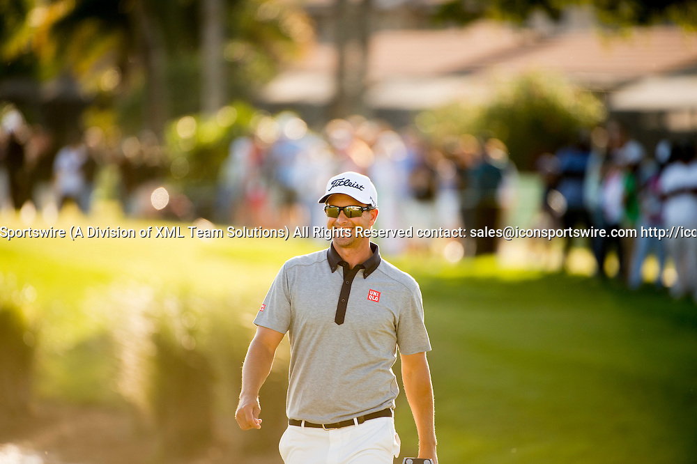 27 February 2016: Adam Scott smiles as walks on the fairway during the third round of the Honda Classic at the PGA National Resort & Spa in Palm Beach Gardens, FL.