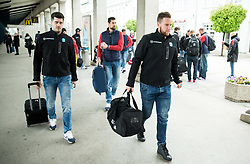 Jurij Repe, Robert Sabolic during departure to Budapest of Slovenian Ice Hockey National Team, on April 17, 2017 in Railway station, Ljubljana, Slovenia. Photo by Vid Ponikvar / Sportida