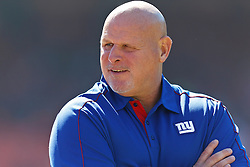 SAN FRANCISCO, CA - OCTOBER 14: Linebackers coach Jim Herrmann of the New York Giants on the field before the game against the San Francisco 49ers at Candlestick Park on October 14, 2012 in San Francisco, California. The New York Giants defeated the San Francisco 49ers 26-3. Photo by Jason O. Watson/Getty Images) *** Local Caption *** Jim Herrmann