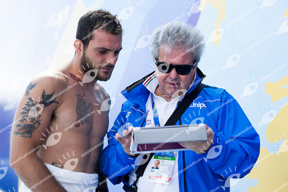 DE ROSE Alessandro ITA and Marco Benati<br /> High Diving - Men's 27m high dive preliminaries<br /> Day 11 03/08/2015<br /> XVI FINA World Championships Aquatics Swimming<br /> Kazan Tatarstan RUS July 24 - Aug. 9 2015 <br /> Photo Giorgio Perottino/Deepbluemedia/Insidefoto
